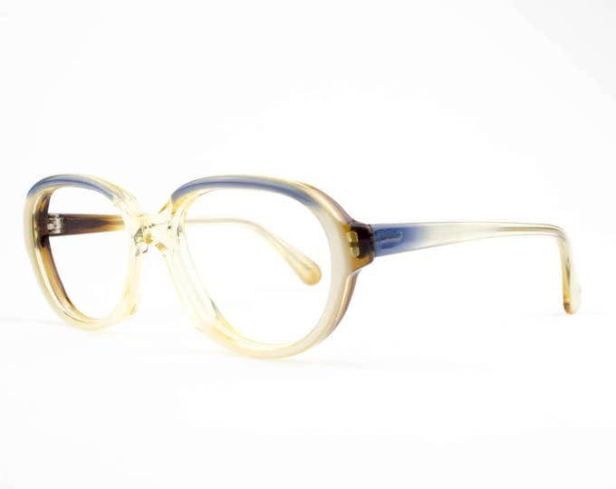 60s Vintage Eyeglasses | Clear Blue Round Glasses | NOS 1960s Eyeglass Frame | Deadstock Eyewear - Welch