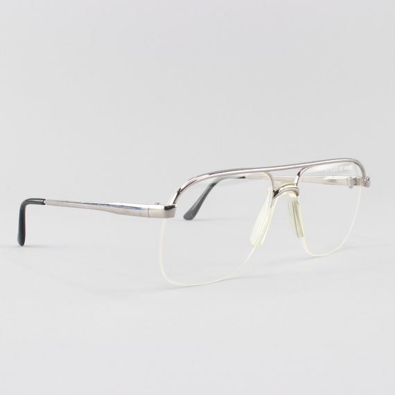 Vintage Eyeglasses | 80s Glasses | Silver Aviator Eyeglass Frame | 1980s Aesthetic - NY Flex