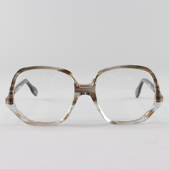 Vintage Eyeglasses | Clear Gray Eyeglass Frame | Round 70s Glasses | Deadstock Eyewear - Colossal Caviar