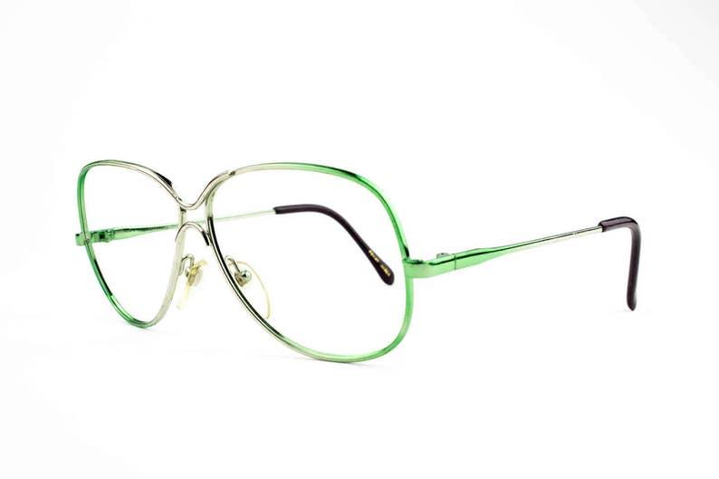 0a10252751f4 80s Glasses Vintage Hipster Glasses Green Eyeglass Frames