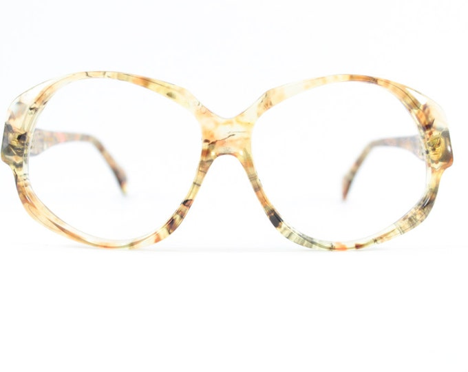 Vintage 70s Eyeglasses | 1970s Clear Swirled Multicolor Oversized Round Glasses | NOS Eyeglass Frame | Deadstock Eyewear - Odile Olea
