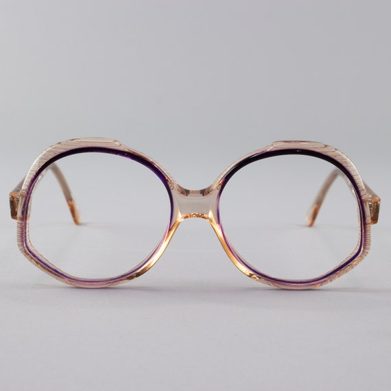 70s Vintage Glasses | Clear Purple Round Eyeglasses | Oversized Eyeglass Frame - Ravenna 1