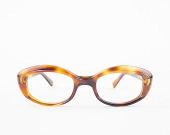 60s Vintage Cateye Eyeglasses | 1960s Cateye Tortoiseshell Oval Frame Glasses | NOS Eyeglass Frame | Deadstock Eyewear - Sunrise Honey Amber