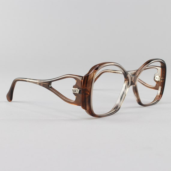 70s Glasses | Vintage Eyeglasses | 1970s Oversized Glasses Frames | Brown Clear Eyeglass Frame - Finland No. 1