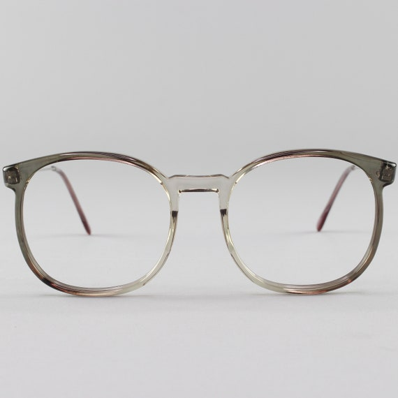 80s Vintage Glasses | Clear Gray Round Eyeglass Frame | 1980s Eyeglasses - March Grey