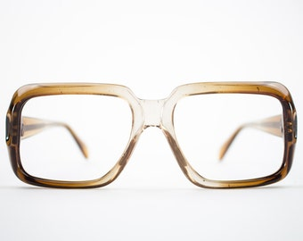 1970s Vintage Glasses | NOS Clear Smoky Brown Eyeglass Frame | 1970s Oversized Square Eyeglasses | Deadstock Eyewear - Denver Brown