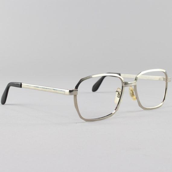 70s Glasses | Vintage Eyeglasses | Silver Geometric Eyeglass Frame | Vintage Deadstock - Hipster Silver