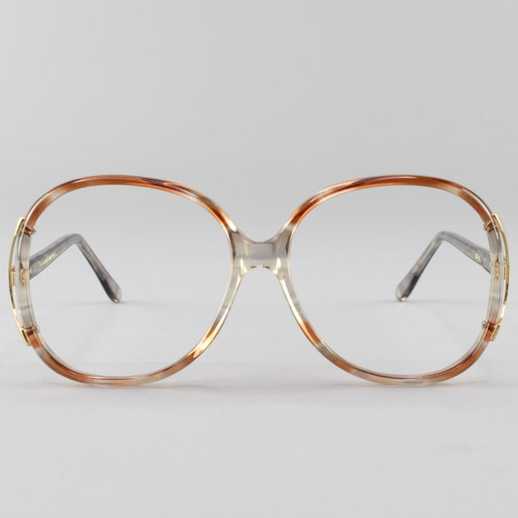 Vintage 80s Glasses | Oversized Eyeglasses | Round 1980s Glasses Frames | Beige Clear Eyeglass Frame | Deadstock Eyewear - Regal 2