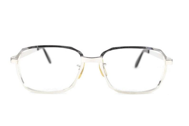 56f78cbc85b Vintage 1970s Shiny Silver Aviator Eyeglass Frame Hipster