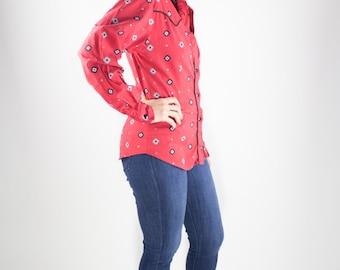 80s Vintage Western Shirt | Red Longsleeve Cowboy Top | Southwestern Cowgirl Blouse