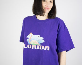 Vintage T-Shirt | 90s Florida Flamingo Tee | Purple Oversize Graphic Tshirt | Extra Large XL
