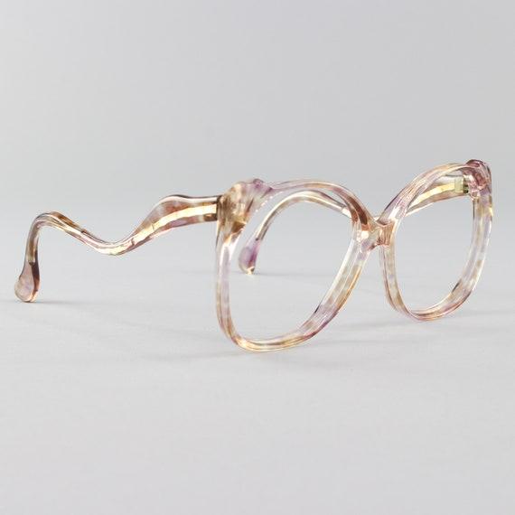 Vintage Eyeglasses | 70s Glasses | Clear Purple and Brown | Oversized Eyeglass Frame | Deadstock Eyewear  - Reims 3