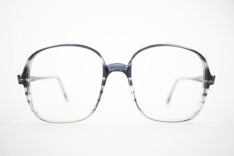 b07ebd97ae Vintage Eyeglass Frame Oversized Clear Grey Stripe Round
