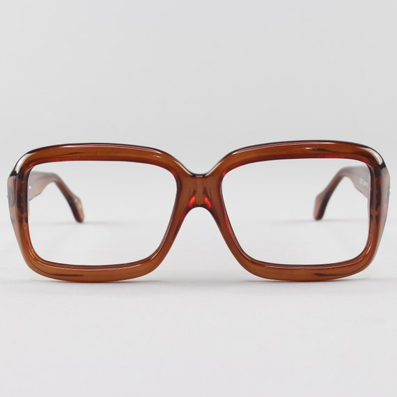 70s Vintage Eyeglasses | Clear Brown Square Glasses | 1970s Aviator Eyeglass Frame | Deadstock Eyewear  - Pueblo Brown