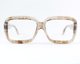 70s Vintage Eyeglass Frame | 1970s Translucent Two-Tone Smoky Brown | Oversize Square Glasses - Pueblo Oak