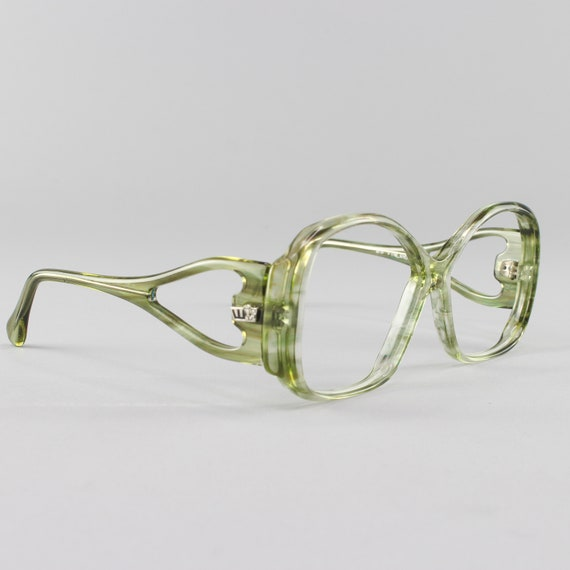 Vintage Eyeglasses | 70s Glasses | Clear Green Eyeglass Frame | 1970s Aesthetic - Finland No. 4