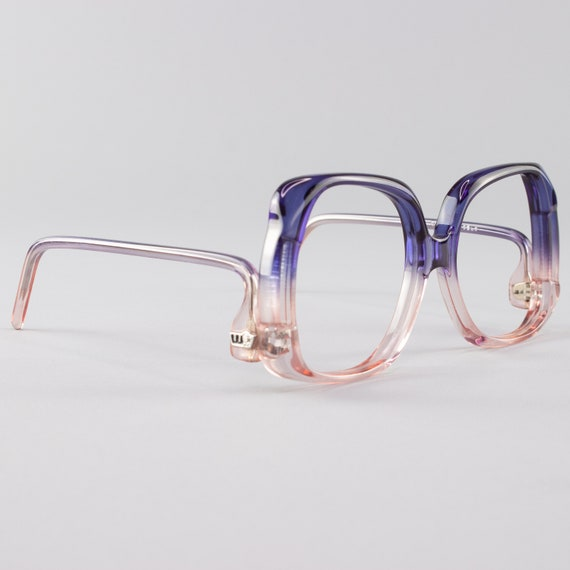 70s Vintage Eyeglass Frame |  Clear Blue and Pink Glasses | Oversized Eyeglasses | Deadstock Eyewear  - Oslo Navy