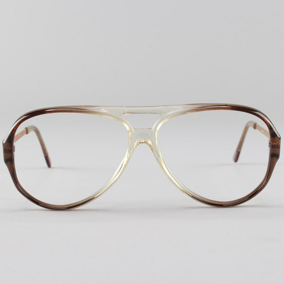 Vintage Glasses | Aviator Eyeglass Frames | Clear Brown 80s Eyeglasses - January Brown