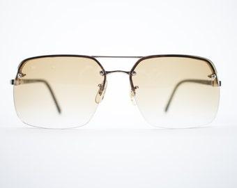 70s Vintage Sunglasses | Gold Aviator Sunglasses | Amber Lenses | 1970s Sunglasses | Vintage Deadstock - Vail Gold
