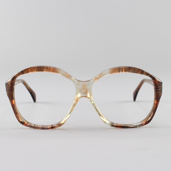 80s Eyeglasses | Vintage Glasses | Oversize Round Eyeglass Frame | Clear Brown Glasses- Alida - 33002