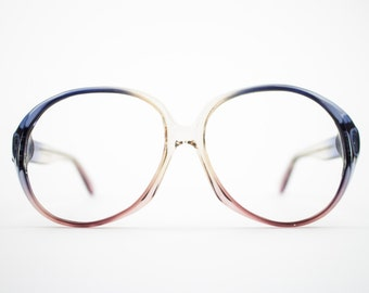 70s Vintage Glasses | Round Oversized 1970s Eyeglasses | Clear Blue and Purple Eyeglass Frame | Deadstock Eyewear - Atlanta 1