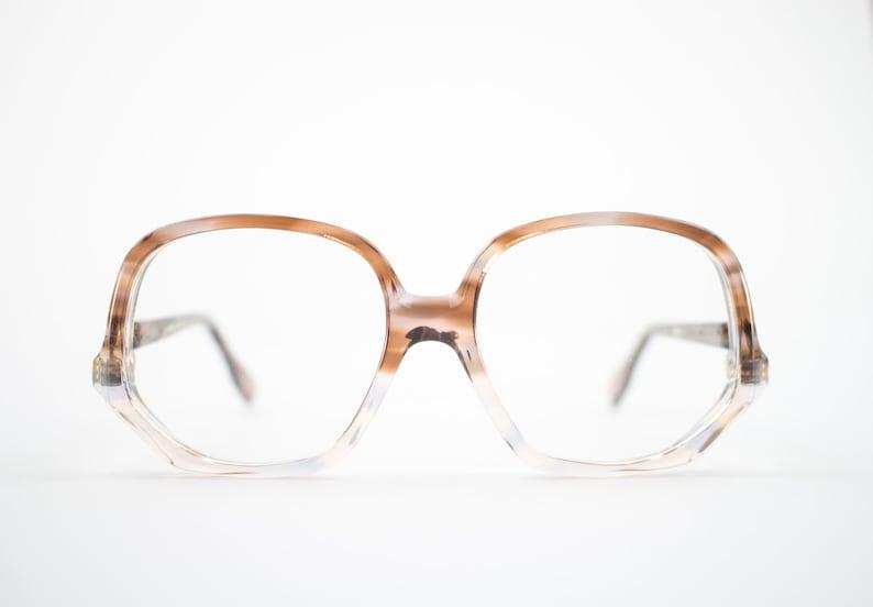 23634ee66e Vintage 70s Glasses Clear Tortoiseshell Round Eyeglass Frame