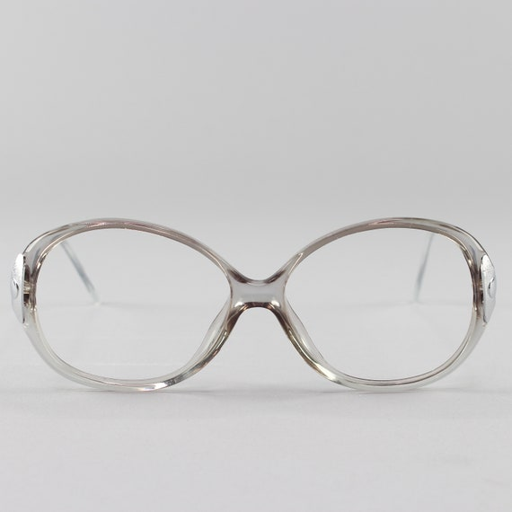 80s Vintage Glasses | Clear Gray Eyeglasses | Round Eyeglass Frame - Hyatt Gray