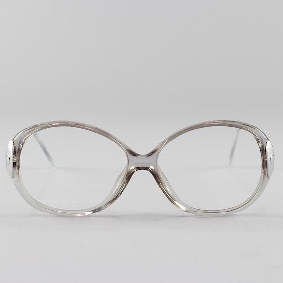 80s Vintage Glasses | Clear Gray Eyeglasses | Round Eyeglass Frame - Hyatt Gray
