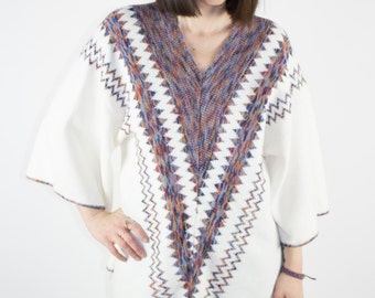 Vintage Wool Top | 70s Tunic Shirt | Geometric Design