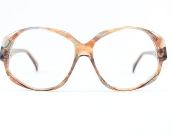 70s Vintage Eyeglasses | 1970s Clear Brown and Grey Oversized Round Glasses | NOS Eyeglass Frame | Deadstock Eyewear - Odile Hickory