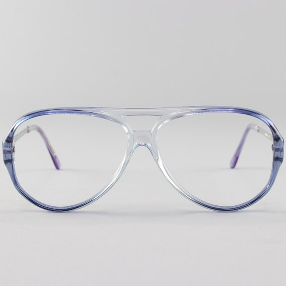 80s Vintage Glasses | Clear Blue Eyeglass Frame | 1980s  Aviator Eyeglasses - January Blue