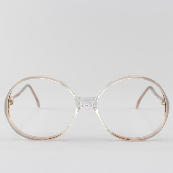 Vintage Eyeglasses | 70s Glasses | Round Eyeglass Frame | Clear Gray Glasses - Rony 9916