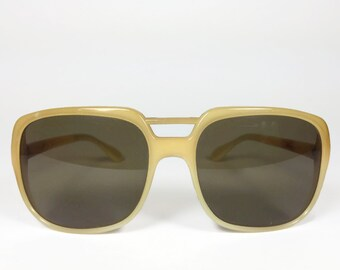 Vintage 1960s Ivory White Oversized Square Nylon Sunglasses - Tusk XX