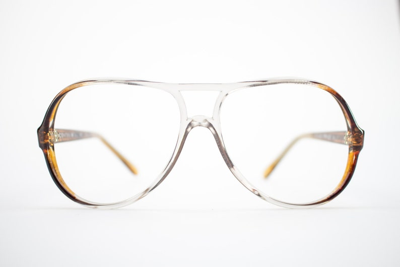a97c7bc904a4b 80s Vintage Aviator Eyeglass Frame Clear Brown Glasses
