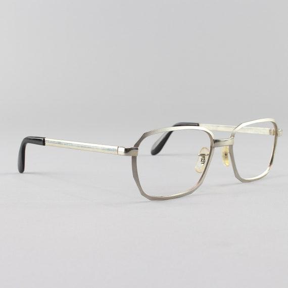 Vintage 70s Glasses | Minimalist Eyeglasses | Silver Eyeglass Frame | Vintage Deadstock - Hipster Silver Satin