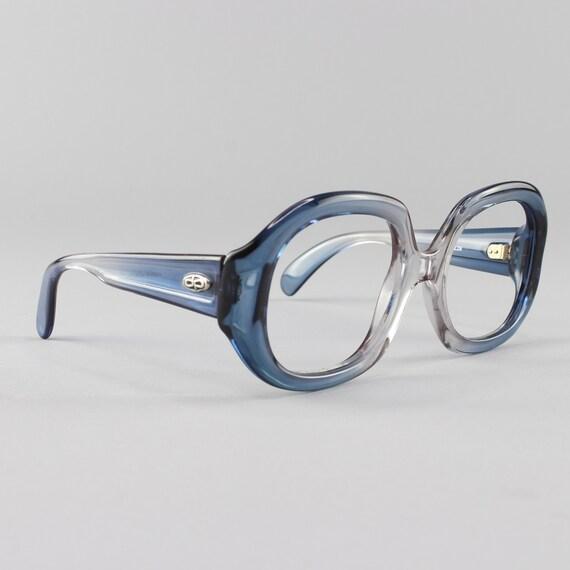 70s Glasses | Oversized Vintage Eyeglasses | Chunky Round Eyeglass Frames | 1970s Aesthetic  - Kim Blue