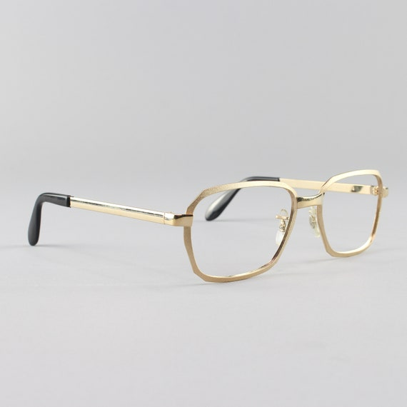 70s Glasses | Gold Vintage Eyeglasses | Geometric Eyeglass Frame | NOS Deadstock 1970s Glasses | - Hipster Satin Yellow