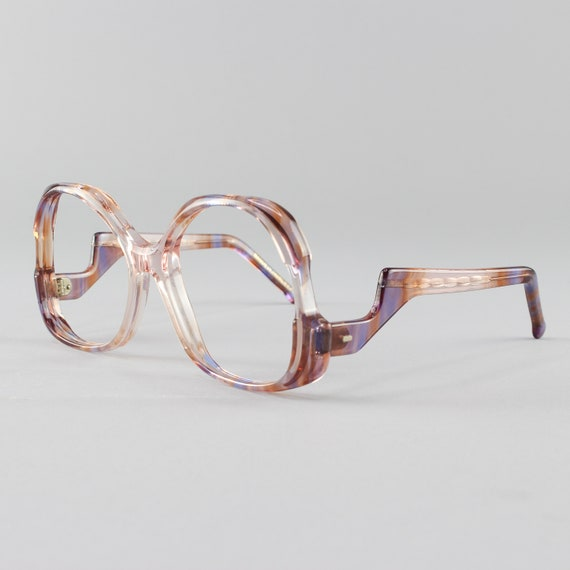 70s Glasses | Clear & Pink Vintage Eyeglasses | 70s Eyeglass Frame - December