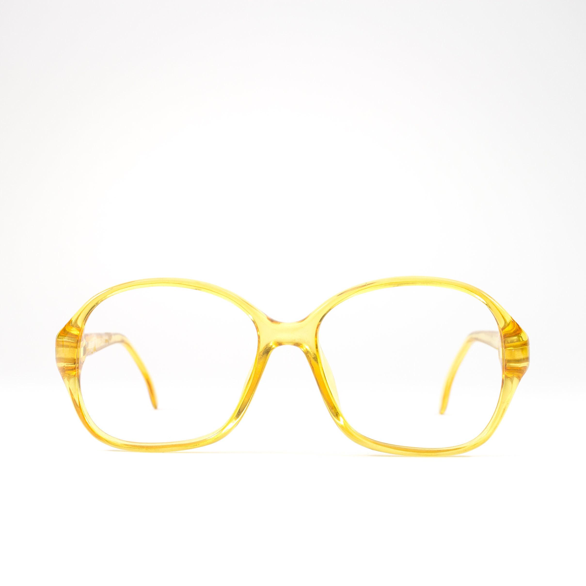 80s Eyeglass Frame   Vintage 80s Glasses   Clear Yellow Eyeglasses ...