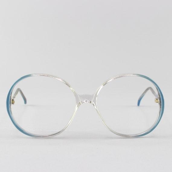 70s Glasses | Vintage Eyeglasses | Round Eyeglass Frame | Clear Blue Frames - Rony 9918