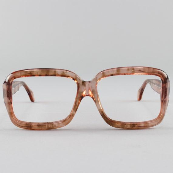 70s Vintage Glasses | Clear Rose Eyeglass Frame | Square 1970s Eyeglasses - Pueblo Rose