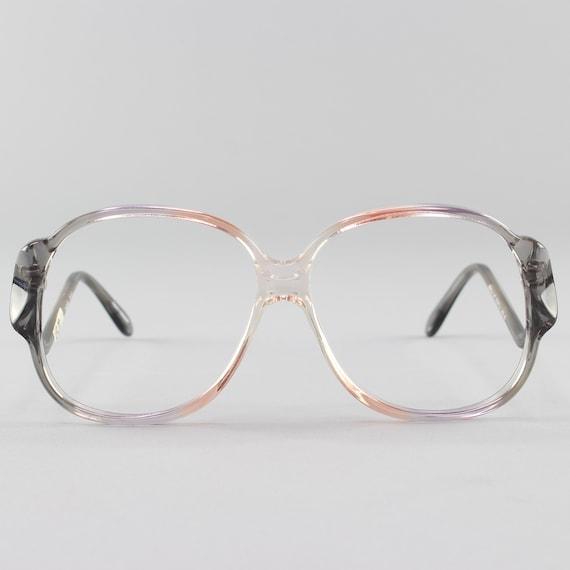 70s Vintage Glasses | Clear Round Eyeglass Frame |  1970s Oversized Eyeglasses | Deadstock Eyewear  - Riga 3