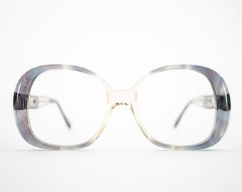 60s Vintage Eyeglasses | 1960s Mod Clear Grey Oversized Round Glasses | NOS Eyeglass Frame | Deadstock Eyewear - Embrace Plum