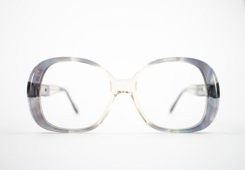 23afe8328ab 60s Vintage Eyeglasses 1960s Mod Clear Grey Oversized Round