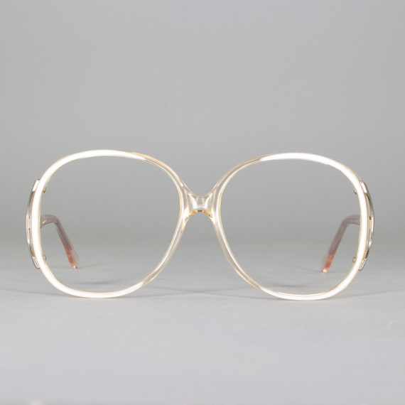 Oversized Eyeglasses | Vintage 80s Glasses | Round 1980s Glasses Frames | White Clear Eyeglass Frame | Deadstock Eyewear - Regal White