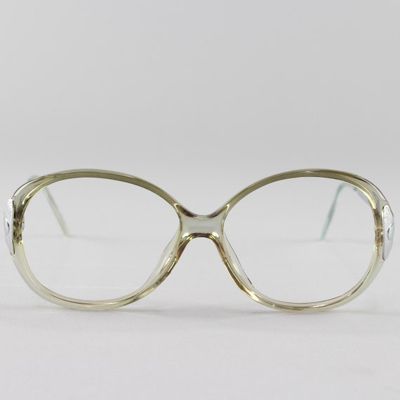 Vintage Eyeglasses | Clear Green Glasses | Round 80s Eyeglass Frame - Hyatt Green