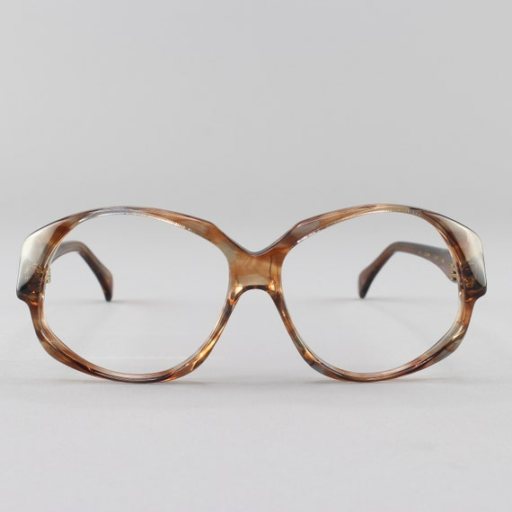 80s Vintage Eyeglasses | Clear Brown Oversized Round Glasses | 1980s Eyeglass Frame | Deadstock Eyewear - Odile Hickory