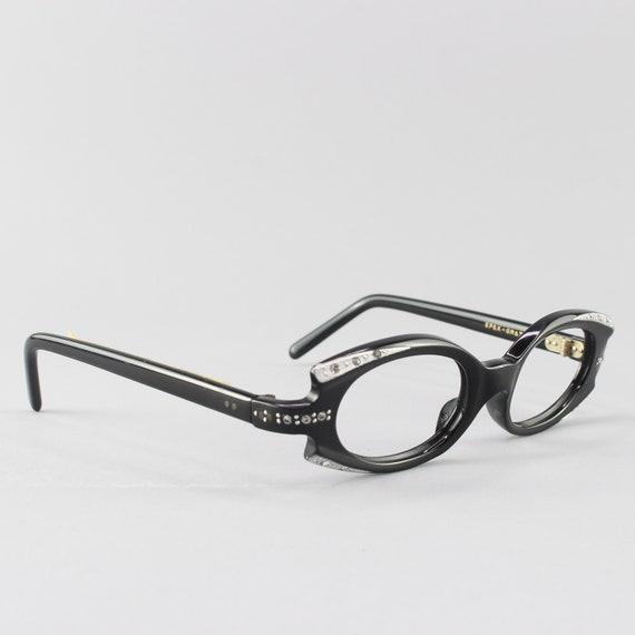 Vintage Eyeglasses | 60s Glasses | Crystal Black Geometric Glasses | 1960s Eyeglass Frame - Greta