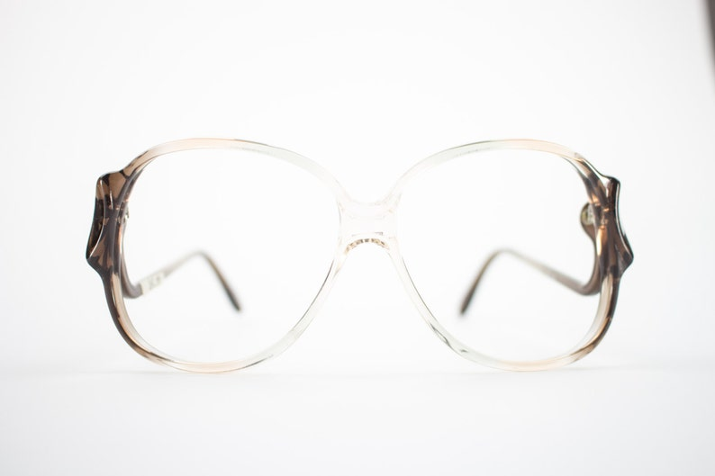 66978eca54 Vintage 70s Glasses Clear Brown Oversized Eyeglass Frame