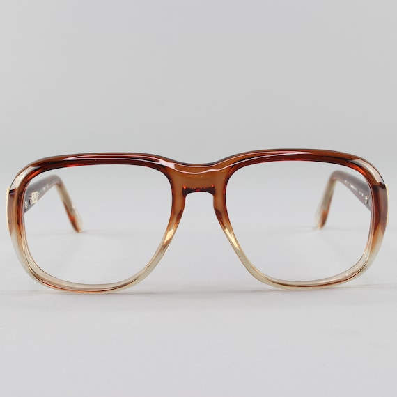 Vintage 70s Glasses| Clear Brown Eyeglasses | 1970s Eyeglass Frame | Deadstock Eyewear  - Hanover Brown Fade